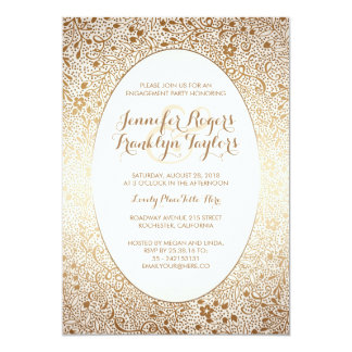 Engagement Party Gold Floral Vintage White Card
