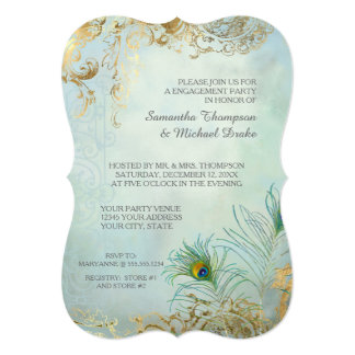 Engagement Party Gold Leaf Peacock Feather Elegant Card