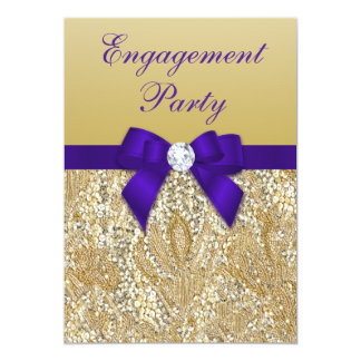 Engagement Party Gold Sequins Royal Purple Bow Card