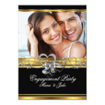 Engagement Party Gold Silver Photo 3 Personalized Invite