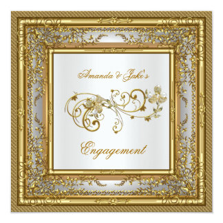 Engagement Party Gold White Damask Floral Card