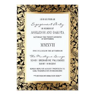 Engagement Party | Golden Floral Damask on Black Card