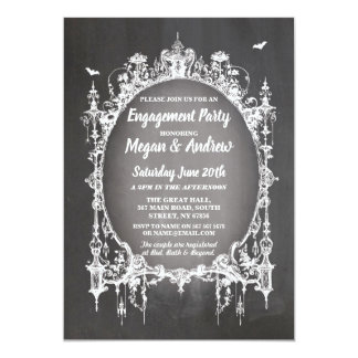 Engagement Party Gothic Frame Halloween Invite