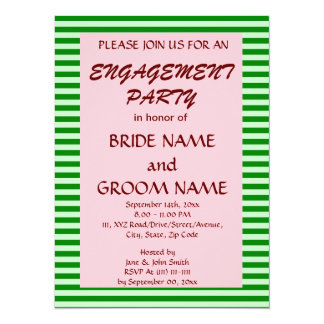 Engagement Party - Green Stripes, Pink Background Card