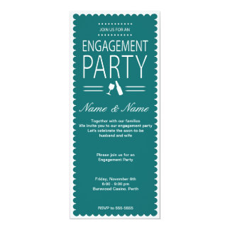 "Engagement Party Invitation 4"" X 9.25"" Invitation Card"