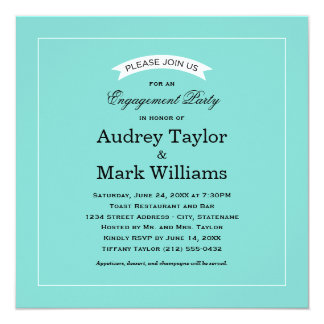 Engagement Party Invitation | Aqua Blue