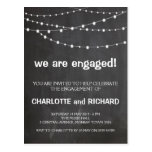 Engagement party invitation chalkboard and lights postcard
