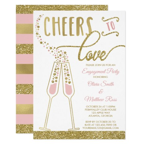 Engagement Party Invitation, Faux Glitter & Foil Invitation