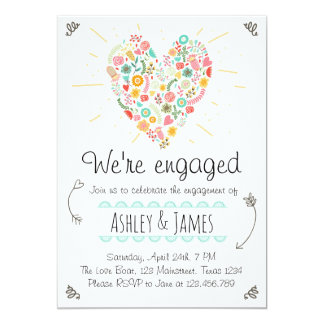 Engagement Party Invitation Floral Heart Wedding