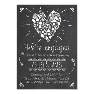 Engagement Party Invitation Heart Wedding Chalk