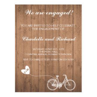 Engagement party invitation romantic bike postcard
