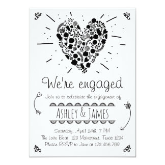 Engagement Party Invitation Rustic Heart Wedding