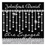 Engagement Party Invitation with Crystals & Hearts