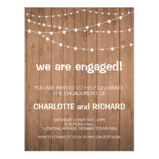 Engagement party invitation wood and string lights postcard