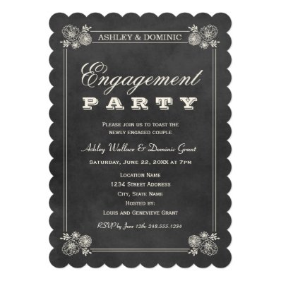 Engagement Party Invitations | Black Chalkboard Custom Announcements