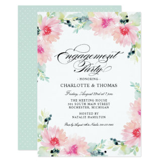 Engagement Party Invitations | Daisy Watercolor