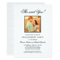 Engagement Party Invitations | Elegant Black Photo