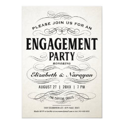 Engagement Party Invitations Vintage Scrollwork