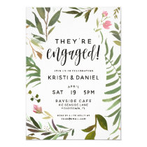 Engagement Party Invitations Watercolor Wreath