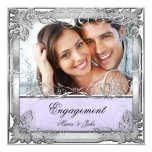 Engagement Party Lilac White Silver Photo Invitations