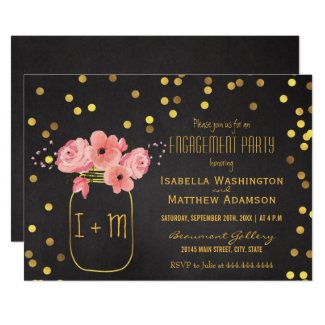 Engagement Party Mason Jar Confetti Chalkboard Invitation