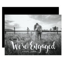 Engagement Party | Photo with Modern White Overlay Invitation