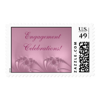 Engagement Party Pink Embroidery Postage Stamp