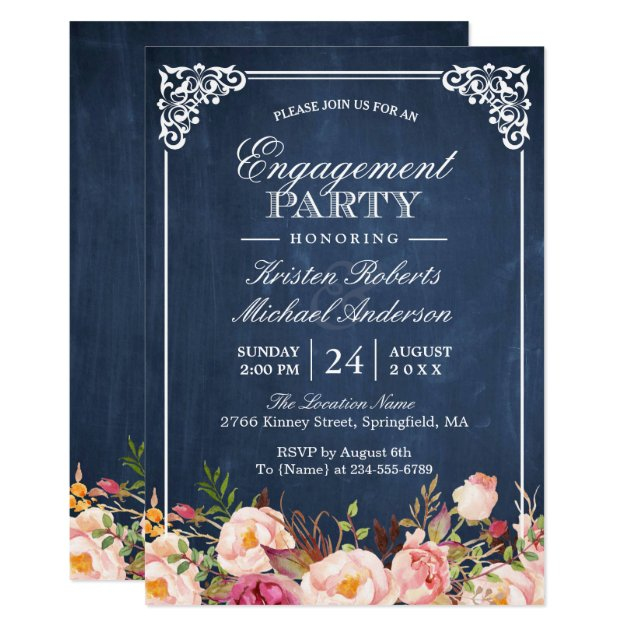 Engagement Party Pink Floral Blue Chalkboard Card