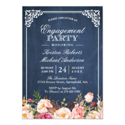 Engagement Party Pink Floral Blue Chalkboard Invitation