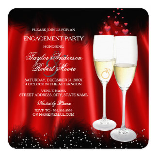 Engagement Party Red Black Champagne Ring Heart Card