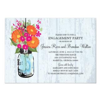 Engagement Party Rustic  Mason Jar Gerber Daisies 5x7 Paper Invitation Card
