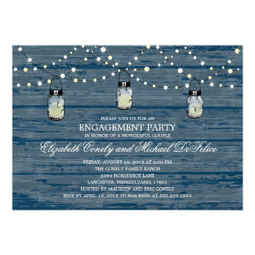 Engagement Party Rustic Wood Mason Jar and Lights Custom Invitations