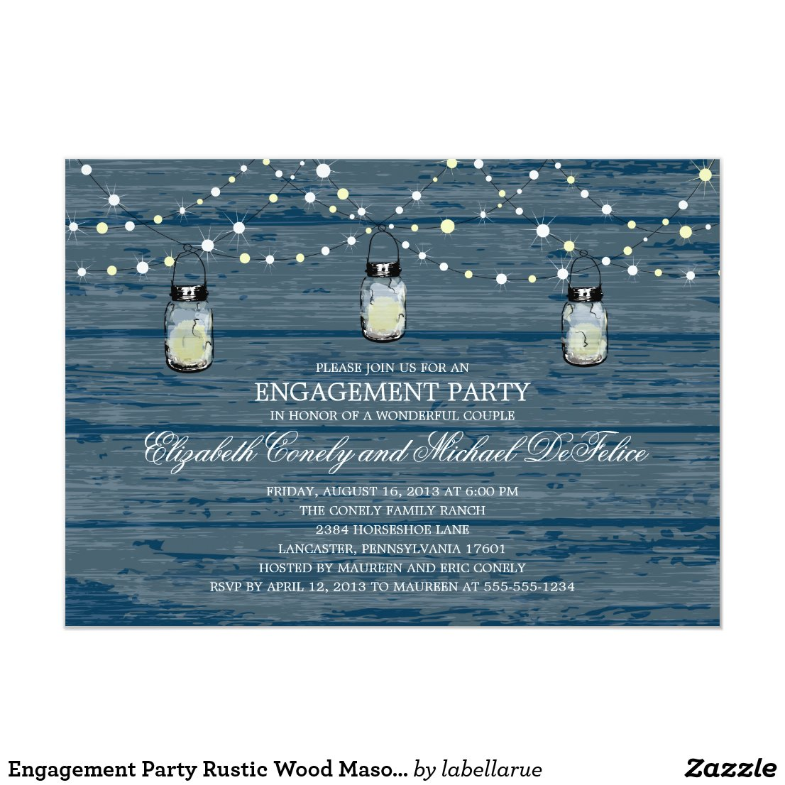 Engagement Party Rustic Wood Mason Jar and Lights Invitation