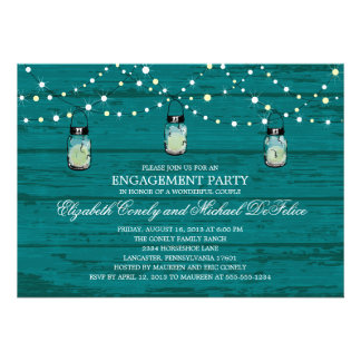 Engagement Party Rustic Wood Mason Jar and Lights Personalized Announcements