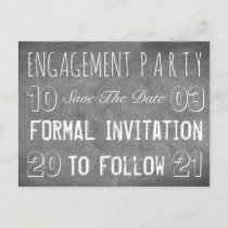 Engagement Party Save The Date Chalkboard Style Announcement Postcard