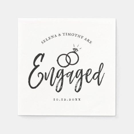 Engagement Party Script Lettering Napkins