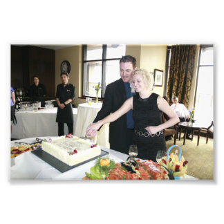 ENGAGEMENT PARTY: SHANE AND STEFFIE CUTTING CAKE! PHOTOGRAPHIC PRINT