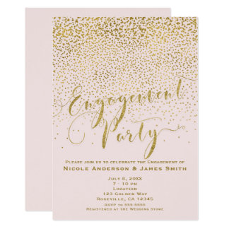 ENGAGEMENT PARTY Shower Blush Pink & Gold Confetti Card