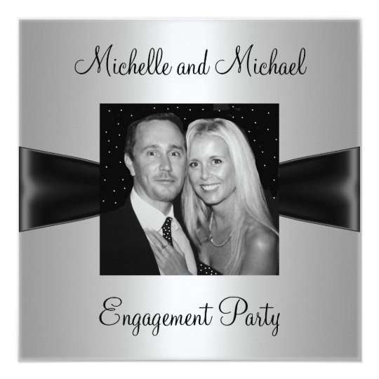Engagement Party Silver Black Ribbon Photo Card