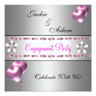 Engagement Party Silver Pink Floral Balloons 5.25x5.25 Square Paper Invitation Card