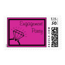 Engagement Party Stamps (Diamond Ring Raspberry)