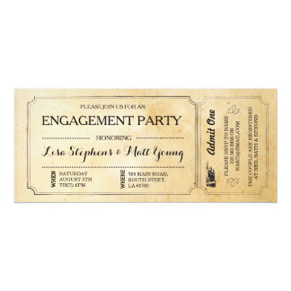 Engagement Party Ticket Couples Rustic Invite