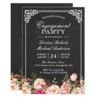Engagement Party Vintage Pink Floral Chalkboard Card