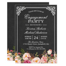 Engagement Party Vintage Pink Floral Chalkboard Card