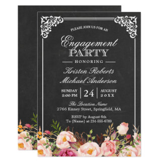 Engagement invitations announcements zazzle engagement party vintage pink floral chalkboard card stopboris
