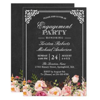 Engagement Party Vintage Pink Floral Chalkboard Invitation