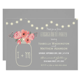 Engagement Party | Watercolor Flowers & Mason Jar Card