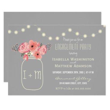 engagements Engagement Party   Watercolor Flowers & Mason Jar Card
