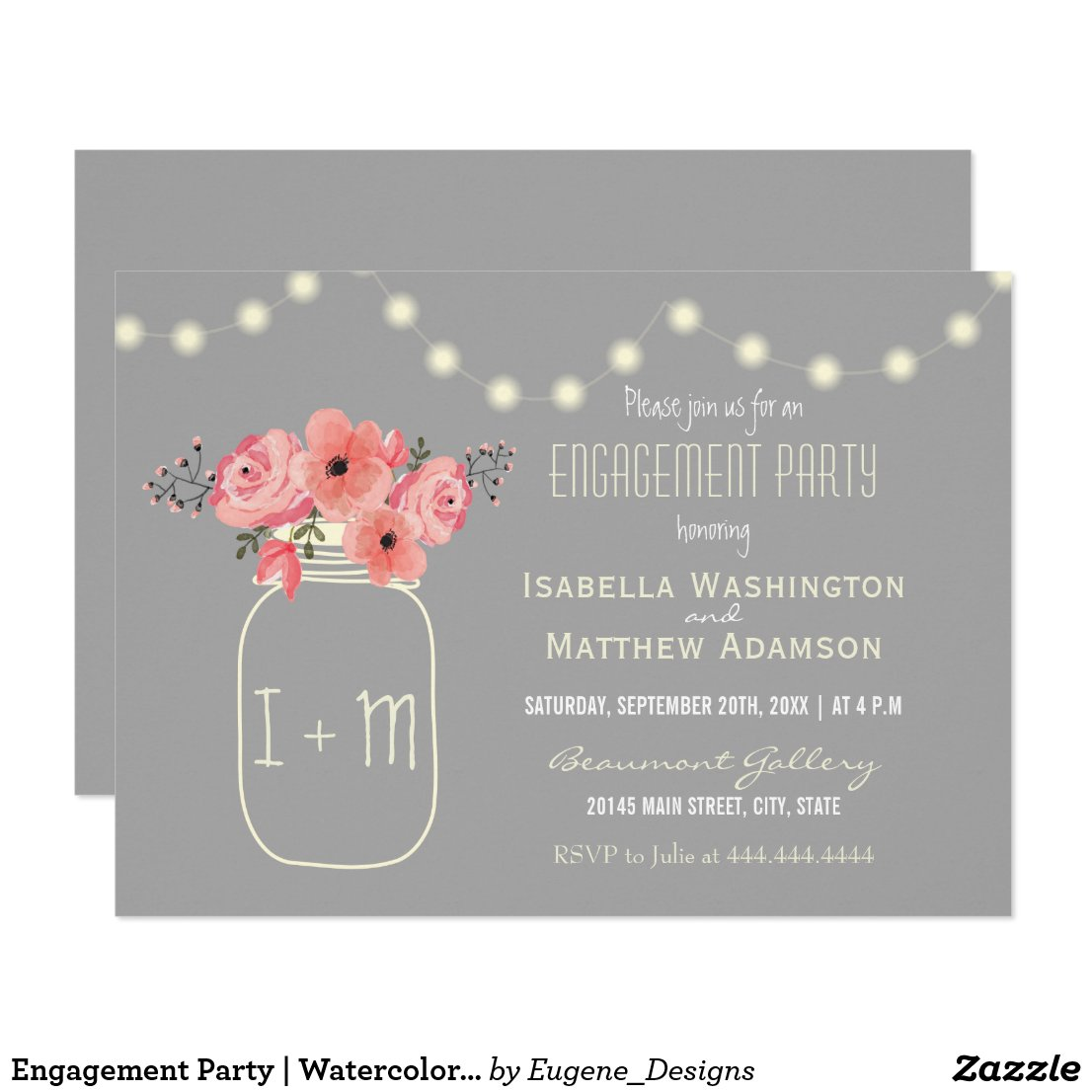 Engagement Party | Watercolor Flowers & Mason Jar Invitation