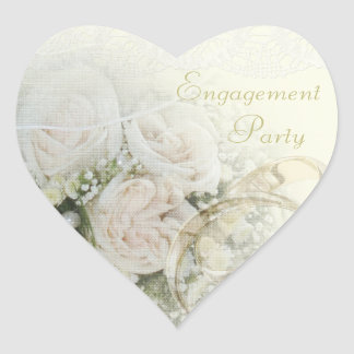 Engagement Party Wedding Bands, Roses & Lace Heart Sticker
